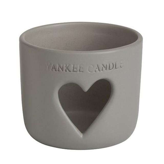 "Suport Borcan Mare/Mediu ""Stonehenge Heart Grey"", Yankee Candle"