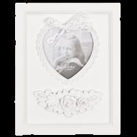 "Rama foto ""White Heart"" 11*11 cm, Clayre & Eef"