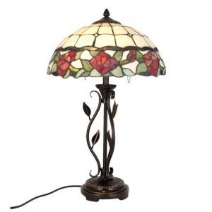 Lampa Tiffany Red Roses, Ø 35x61 cm, 2x E27 / 60W, Clayre & Eef