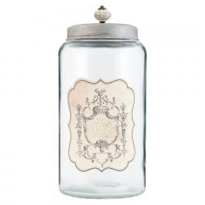 Recipient din sticla cu capac metalic 4.5 L, Clayre & Eef