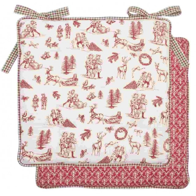 "Perna pentru scaun Craciun ""Nostalgic Christmas Time"" 40*40 cm, Clayre & Eef"