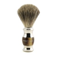 Pamatuf pentru barbierit Light Horn & Silver, Pure Badger, Edwin Jagger