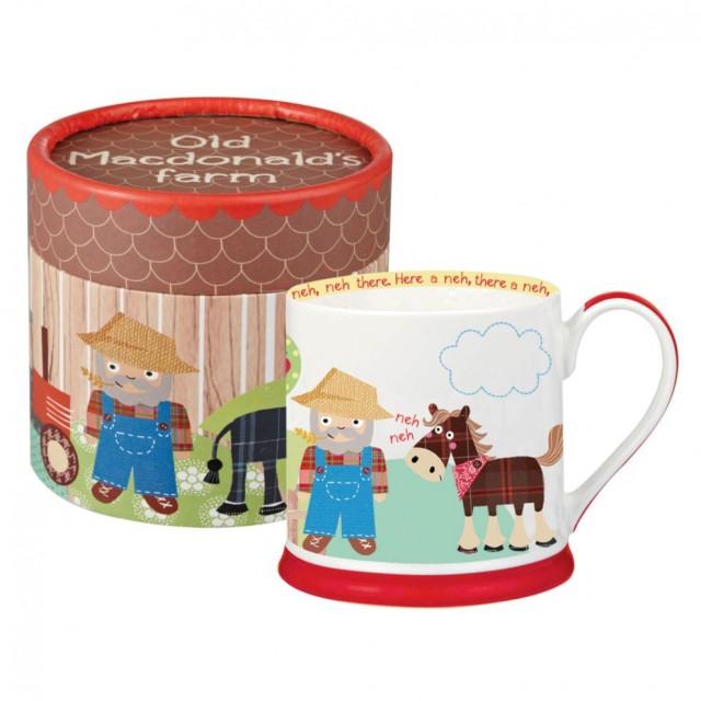 """Cana din portelan pentru copii """"Old MacDonald's Farm"""" 210ml in cutie cadou, Churchill"""