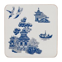 Set 4 coastere Blue Willow
