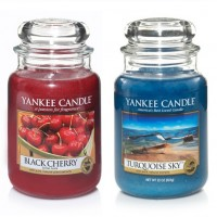 EDITIE LIMITATA - Set 2 lumanari parfumate Borcan Mare: Black Cherry & Turquoise Sky, Yankee Candle