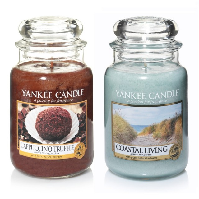 Set 2 Lumanari Parfumate Borcan Mare: Cappuccino Trufle & Coastal Living, Yankee Candle