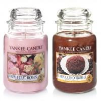Set 2 Lumanari Parfumate Borcan Mare: Cappuccino Trufle & Fresh Cut Roses, Yankee Candle