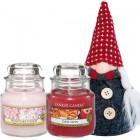 Set Cadou 2 Lumanari Parfumate Borcan Mic & Gnom Decorativ, Yankee Candle