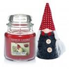 Set Lumanare Parfumata Borcan Mediu Cranberry Pear & Decoratiune Gnom, Yankee Candle