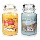Set 2 Lumanari Parfumate Borcan Mare: Coastal Living & Mango Peach Salsa, Yankee Candle