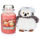 "Set Lumanare Parfumata Borcan Mare Summer Peach & Bufnita ""Buha"", Yankee Candle"
