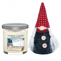 Set Lumanare Parfumata Pahar Mic Clean Cotton & Decoratiune Gnom, Yankee Candle