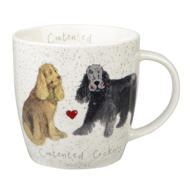 "Cana din portelan Alex Clark Delightful Dogs ""Contented Cockers"" 400ml, Churchill"
