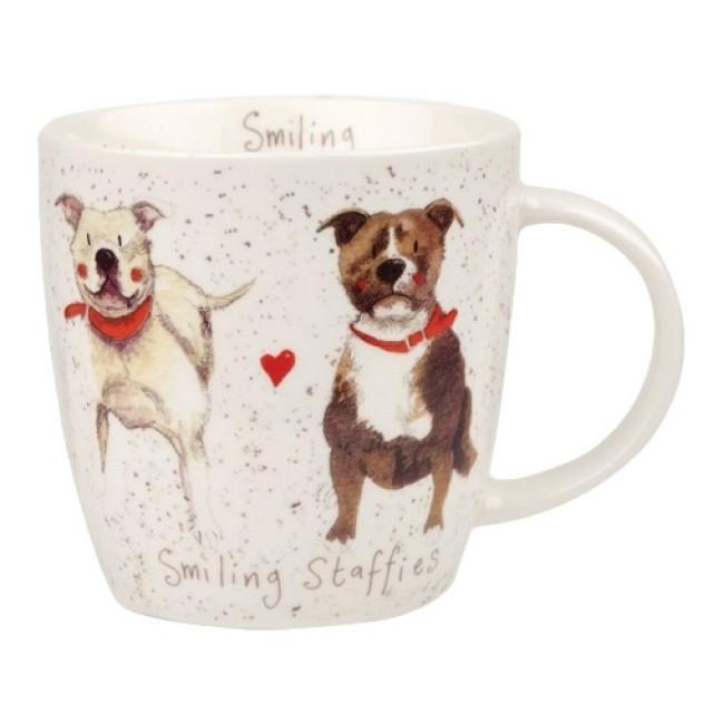 "Cana din portelan Alex Clark Delightful Dogs ""Smilling Staffies"" 400ml, Churchill"