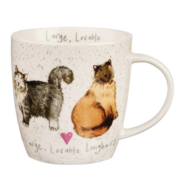 "Cana din portelan Alex Clark Charismatic Cats ""Large, Lovable Longhairs"" 400ml, Churchill"