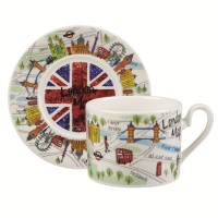 "Set ceasca si farfurie James Sadler ""London Maps"" 200ml, Churchill"