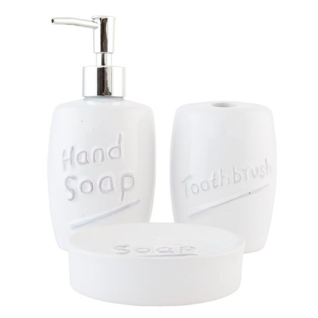 "Set de baie 3 piese ""White Hand Soap"", Clayre & Eef"