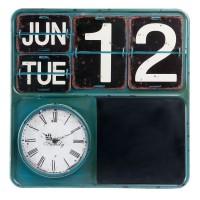 "Ceas cu calendar ""Antique Blue"" 40*3*40 cm, Clayre & Eef"