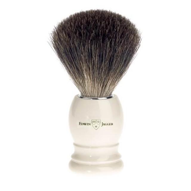 Edwin Jagger Pamatuf pentru barbierit Ivory din par de bursuc Pure Badger