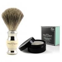 Set Pamatuf pentru barbierit Ivory & Silver Pure Badger + Sapun pentru barbierit in cutie, Edwin Jagger