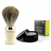Set pamatuf pentru barbierit Ivory, Pure Badger + Sapun pentru barbierit in cutie, Edwin Jagger, Edwin Jagger