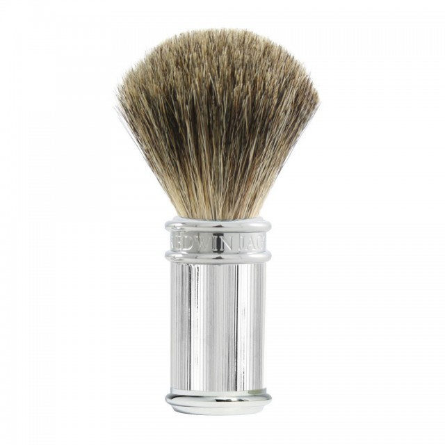 Edwin Jagger Pamatuf pentru barbierit Classic Lined Silver, Pure Badger