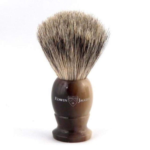 Edwin Jagger Pamatuf pentru barbierit Light Horn, Best Badger Small