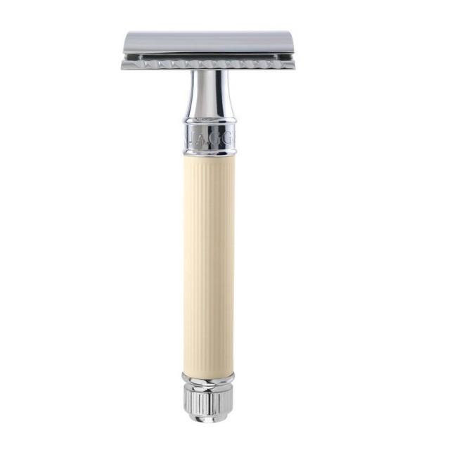 Edwin Jagger Aparat de barbierit clasic, DE87RC14 Ivory Rubber Coated