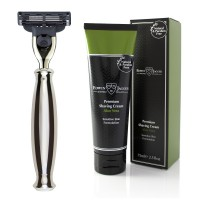 Set Aparat de barbierit lama Mach3, R35911 Silver + Crema pentru barbierit Aloe Vera 75ml, Edwin Jagger