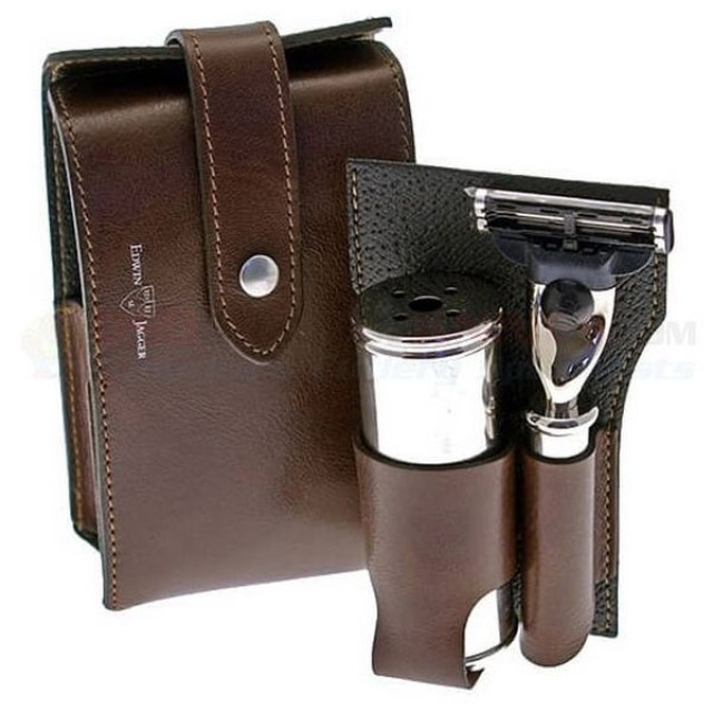 Edwin Jagger  Set de calatorie Brown Leather