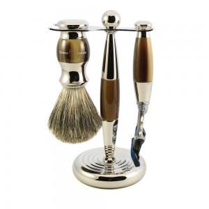 Set de barbierit PHILIP LIGHT HORN, 3 piese: aparat cu lama Gillette Fusion Proglide, pamatuf si stand cromat, Edwin Jagger