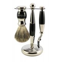 Set de barbierit VLADIMIR EBONY, 3 piese: aparat cu lama Gillette Mach3, pamatuf si suport cromat, Edwin Jagger