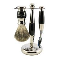 Set de barbierit PHILIP EBONY, 3 piese: aparat cu lama Gillete Fusion Proglide, pamatuf si suport cromat, Edwin Jagger