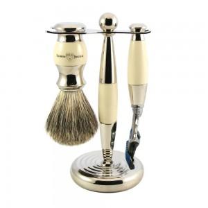 Set de barbierit 3 piese Ivory: aparat cu lama Gillette Fusion Proglide, pamatuf cu par de bursuc, suport metalic , Edwin Jagger