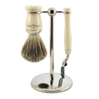 Set barbierit Richard, 3 piese: aparat cu lama Gillette Mach3, pamatuf din par de bursuc, suport metalic, Edwin Jagger
