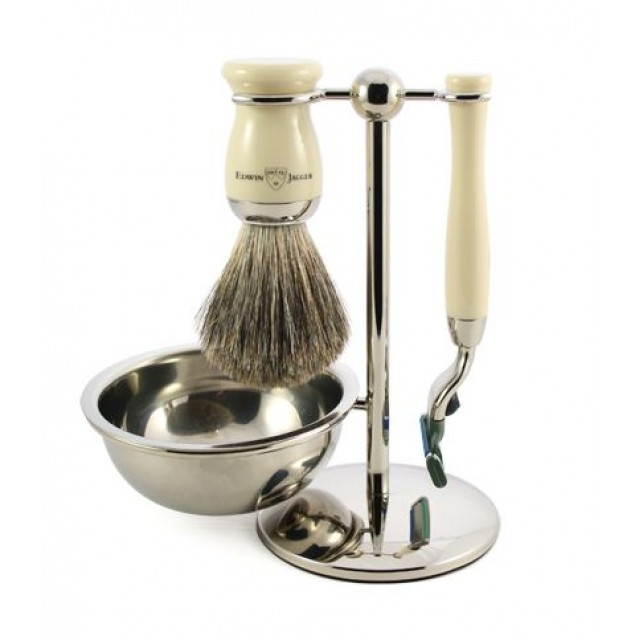 Edwin Jagger Set de barbierit Edwin Jagger 4 piese S81M717CRB, Arthur Ivory Mach 3