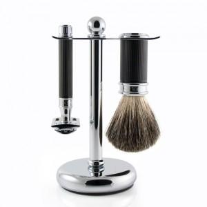 Set de barbierit 3 piese S81M86RC15 Ebony Rubber Coated, Edwin Jagger