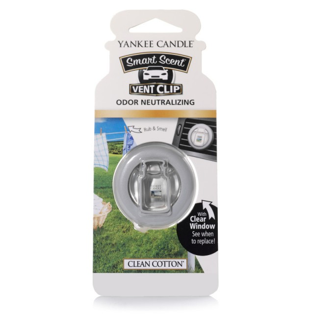 Odorizant Auto Smart Scent Vent Clip Clean Cotton, Yankee Candle