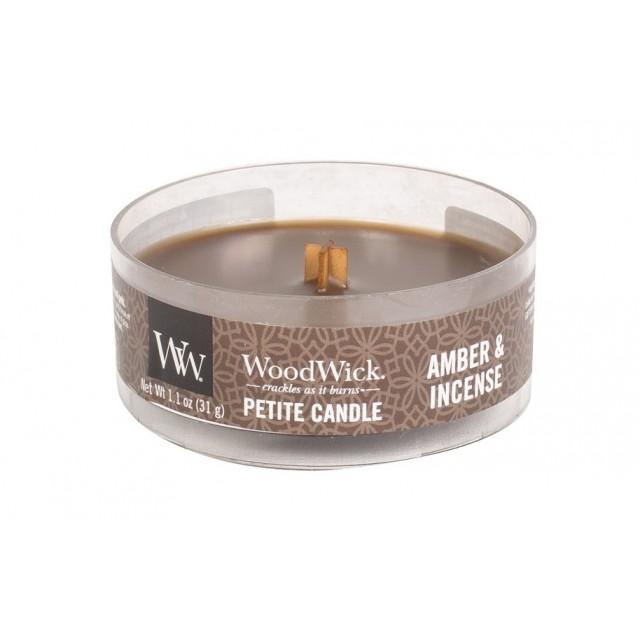 Lumanare Parfumata Petite Amber & Incense, WoodWick®