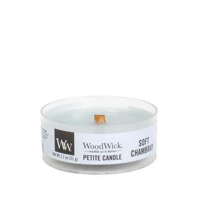 Lumanare Parfumata Petite Soft Chambray, WoodWick®