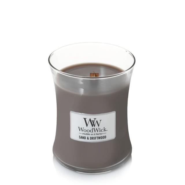 Lumanare Parfumata Borcan Mediu Sand & Driftwood, WoodWick®