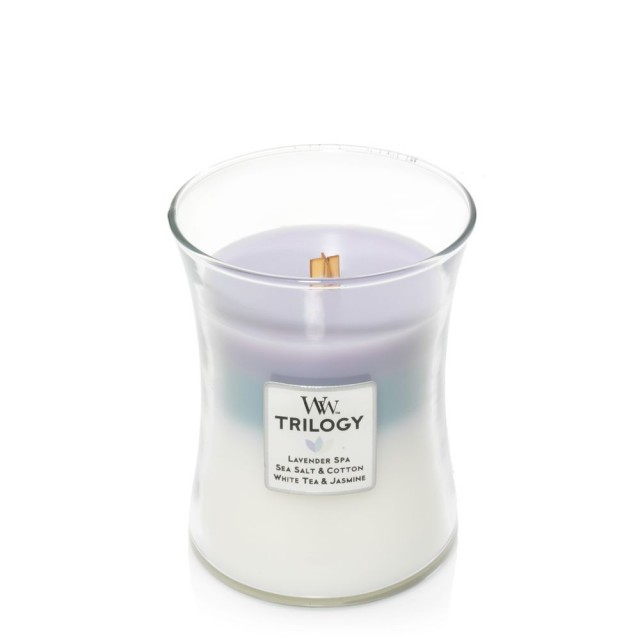 Lumanare Parfumata Borcan Mediu Trilogy Calming Retreat, WoodWick®