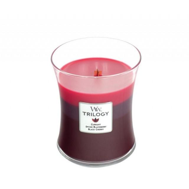 Lumanare Parfumata Borcan Mediu Trilogy Sun Ripened Berries, WoodWick®