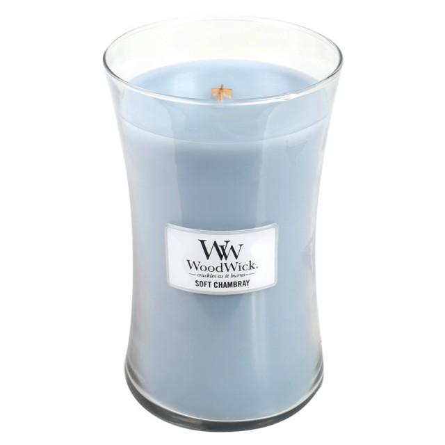 Lumanare Parfumata Borcan Mare Soft Chambray, WoodWick®