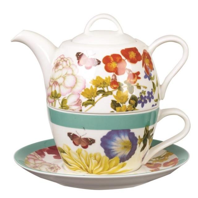 Set ceainic si ceasca cu farfurie pentru o persoana, Tea for One Butterflies in Bloom, Churchill
