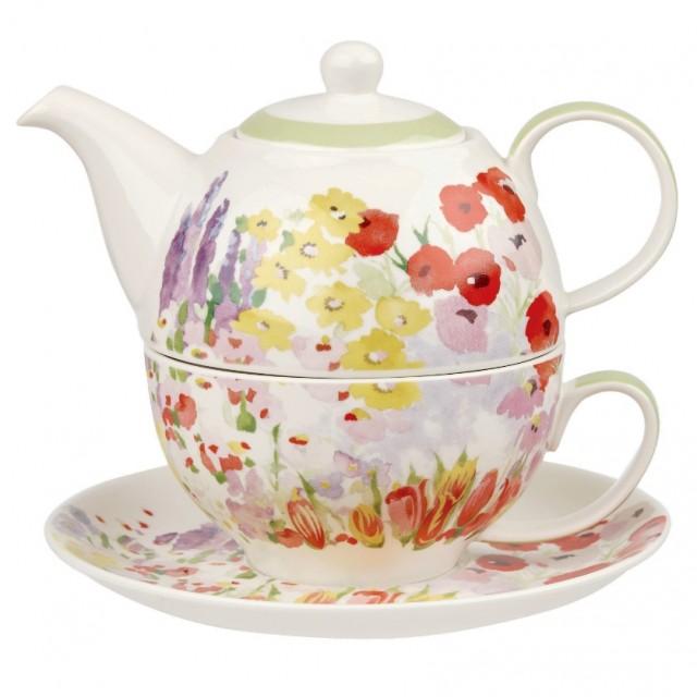 "Set ceainic si ceasca cu farfurie din portelan, pentru o persoana, Tea for One Collier Campbell ""Painted Garden"", Churchill"