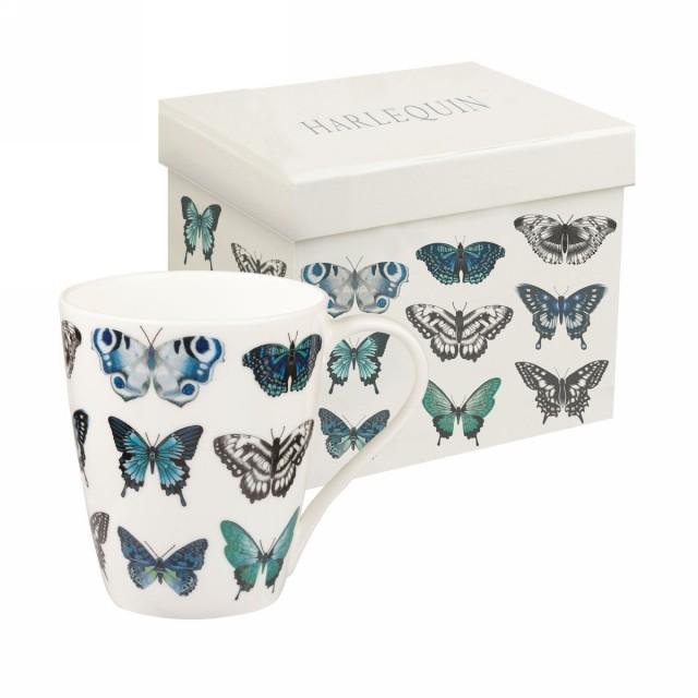 "Cana din portelan fin Harlequin ""Papilio Indigo"" 425ml in cutie cadou, Churchill"