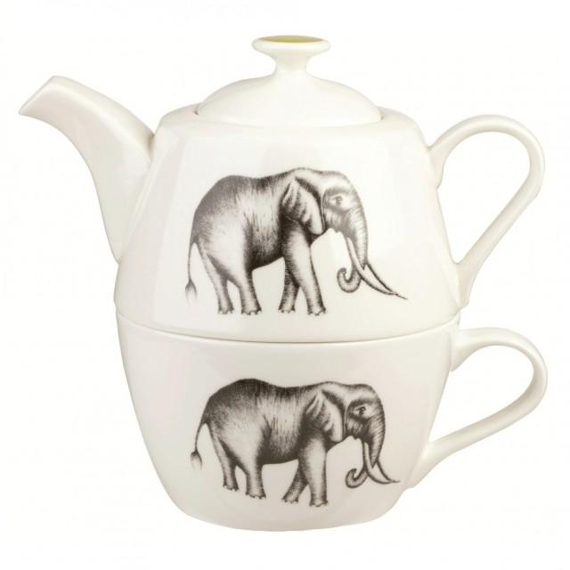 Set ceainic si ceasca din portelan fin, pentru o persoana, Tea for One Harlequin Savanna, Churchill