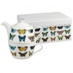 Set ceainic si ceasca din portelan fin, pentru o persoana, brand Harlequin Papilio, Churchill