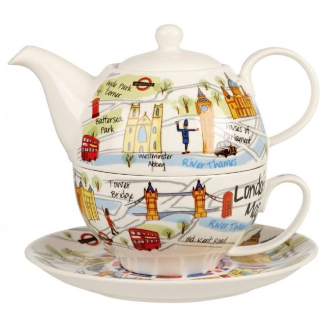 "Set ceainic si ceasca cu farfurie, pentru o persoana, Tea for One ""London Maps"" 400ml, Churchill"